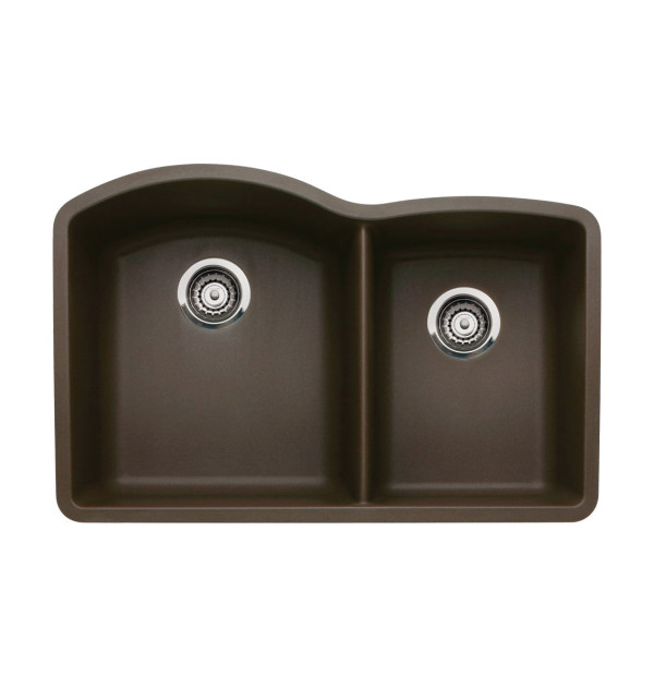 Blanco 440177 Diamond Silgranit II Offset Double Bowl, Caf? Brown ...