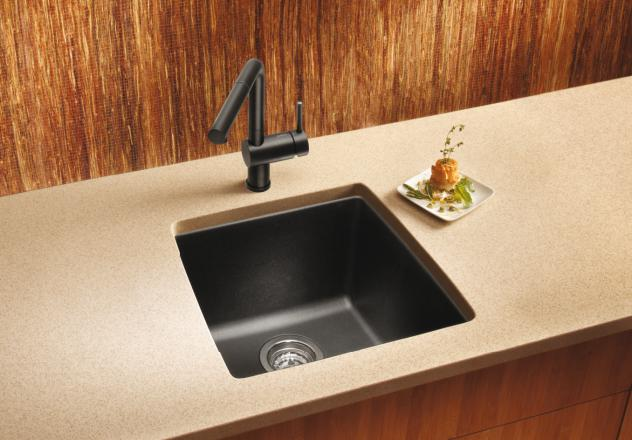 Silgranit Sink : ... Sinks / Blanco 440082 Performa Silgranit II Single Bowl Sink, Metallic