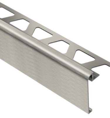 Rondec Step Brushed Nickel Aluminum Trim For 3-8 Tile 1-1-2 Face Height - 8 2-1-2 Length