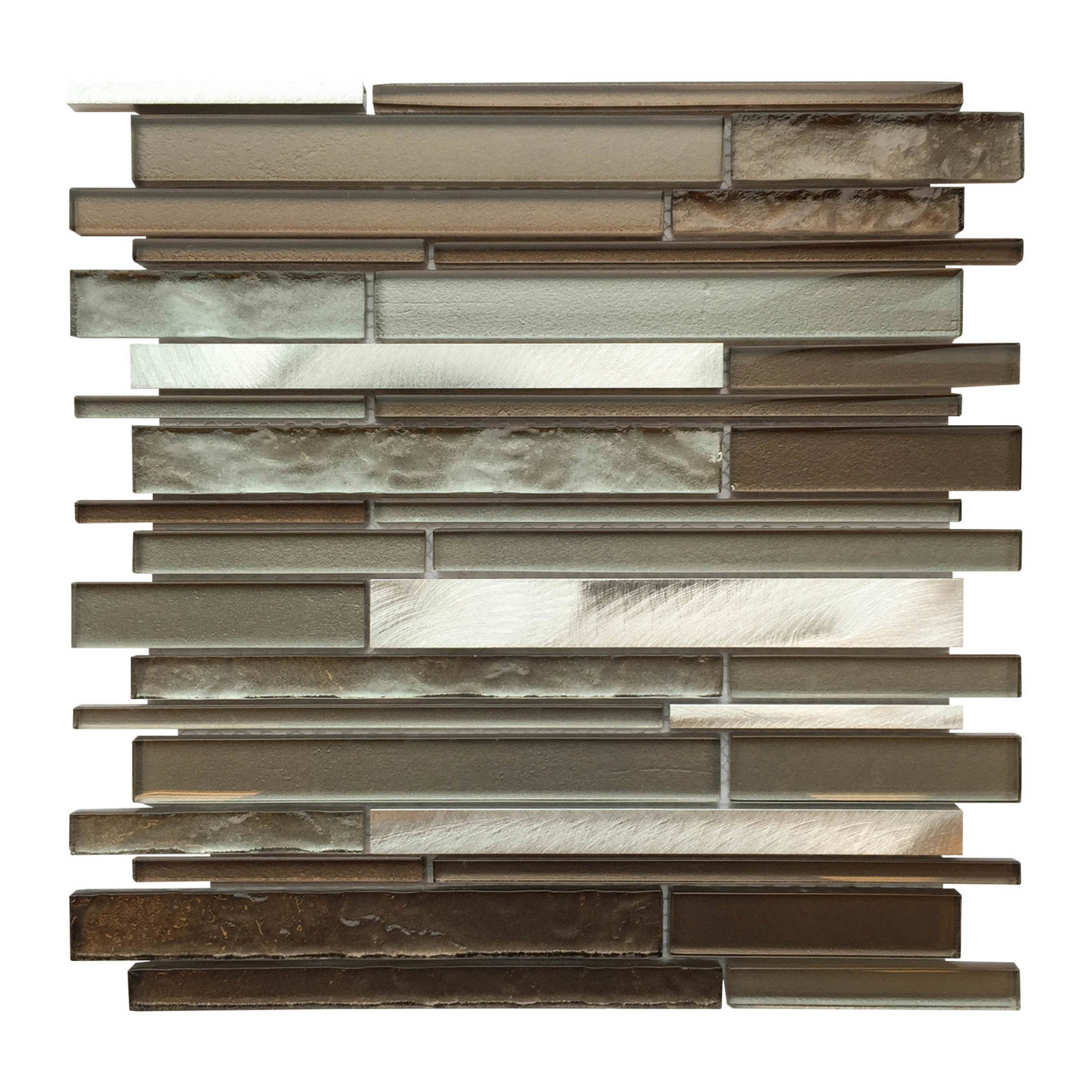 Al3300 Glass Tile And Stone Strip Mosaic Backsplash