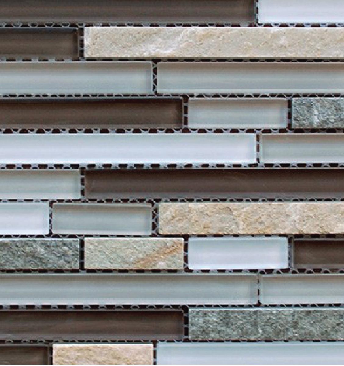 "Sample Slate Stone Glass Gray White Linear Mosaic Tile: Slate, Stone & Gray Glass Linear 12"" X 12"" Mosaic"