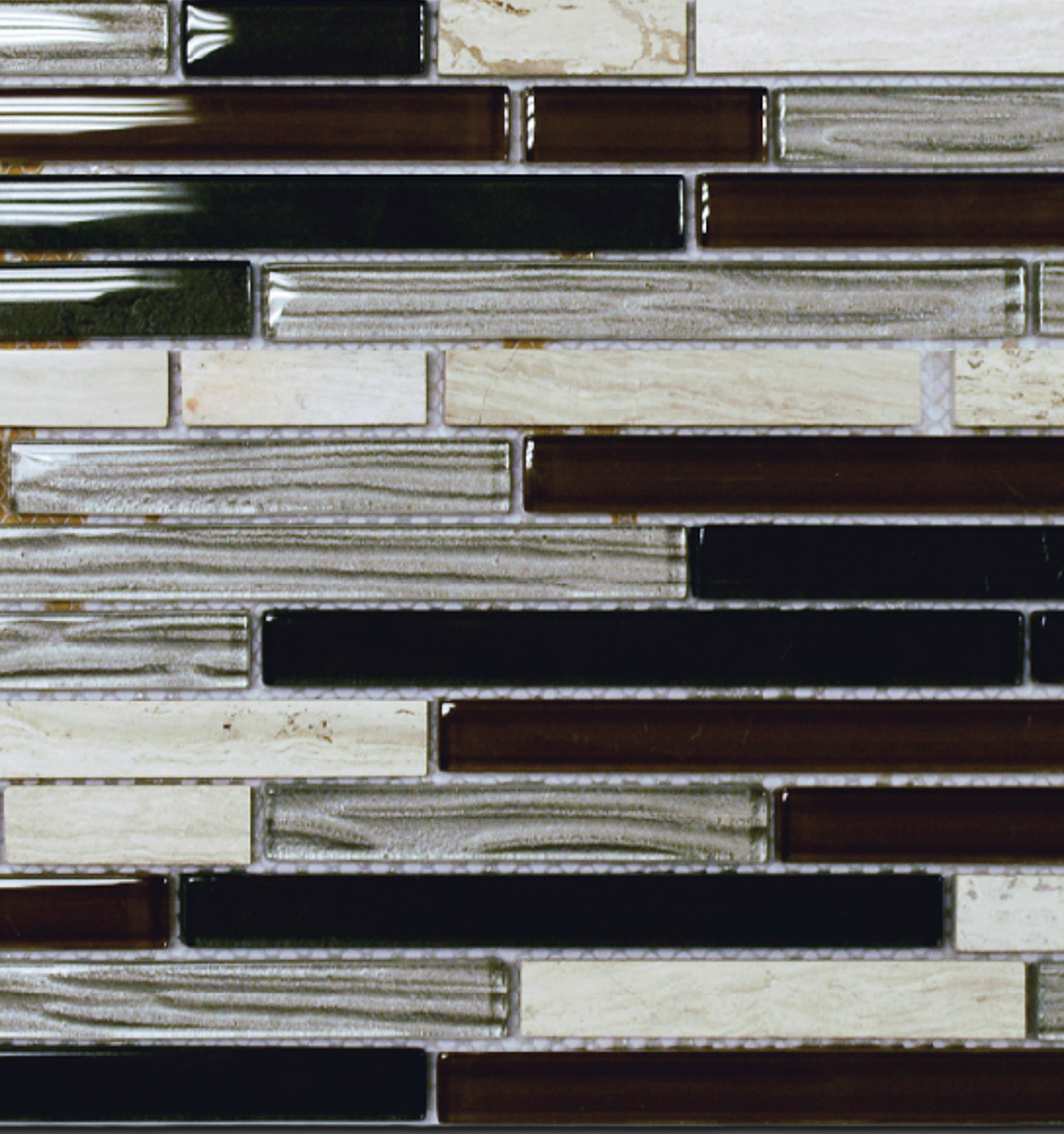 "Sample Wooden Grey Marble Glass Mosaic Tile Backsplash: Stone Brick & Marble With Grey Wood Grain Glass 12"" X 12"