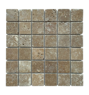 stone brick mosaic backsplash
