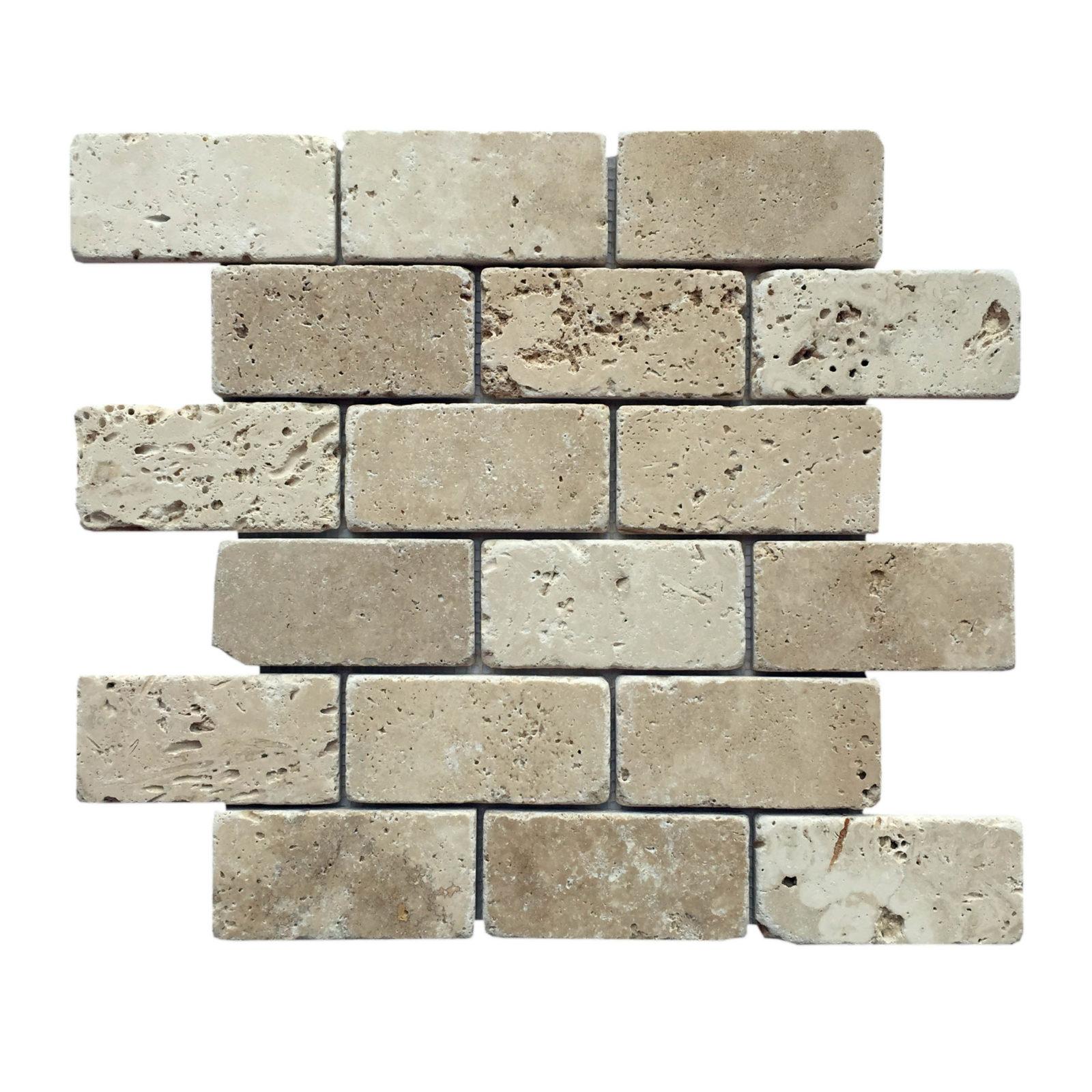 anatolia tile brick mosaic white travertine 2 x 4