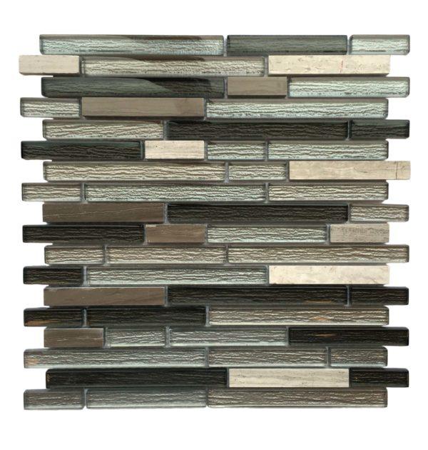random strip glass and stone mosaic backsplash sheet AL770