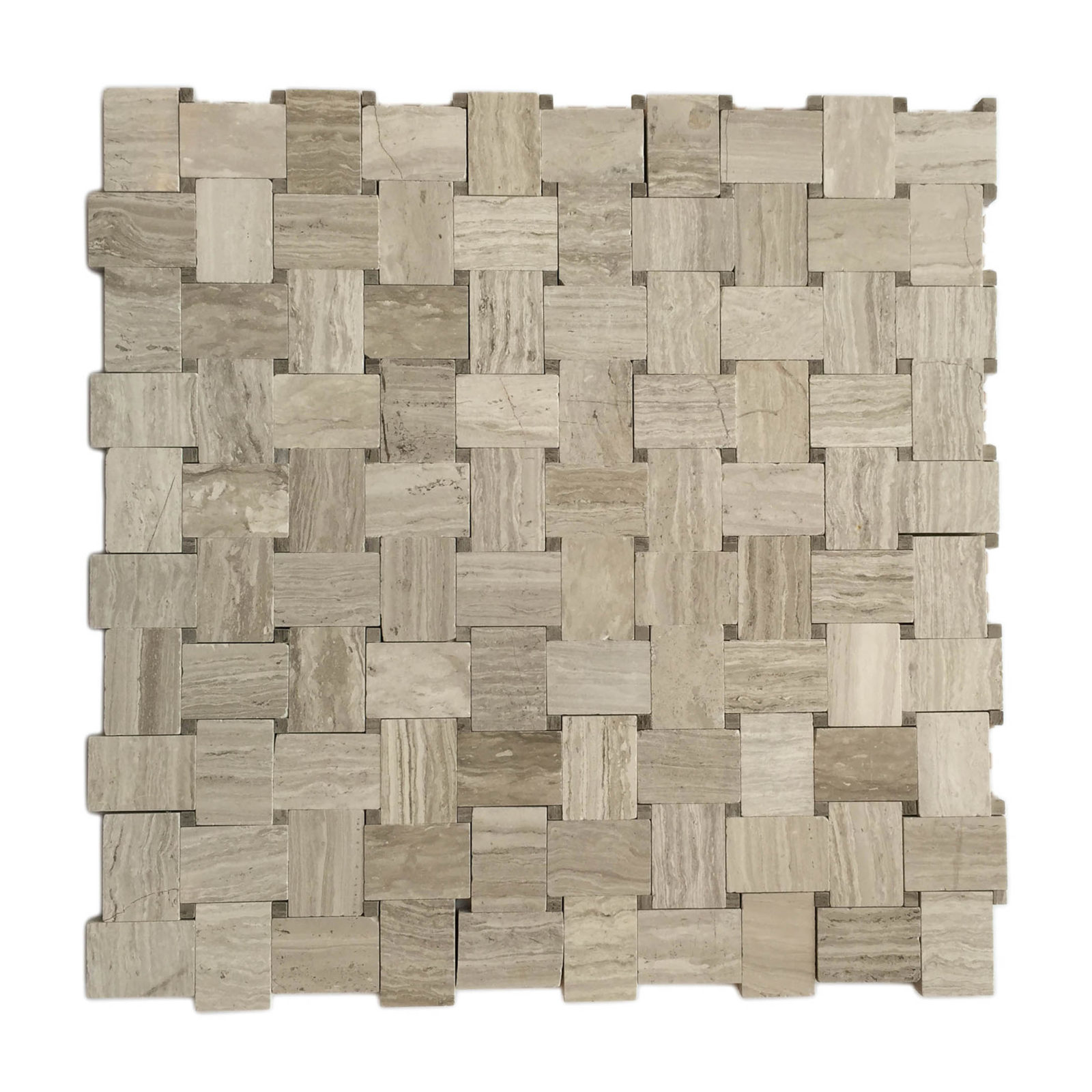Polished Wooden White Basket Weave Mosaic Sheet Schillings