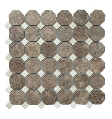 square and octagon mosaic backsplash sheet