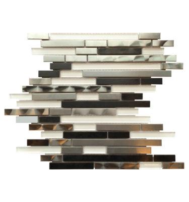random strip mosaic sheet backsplash