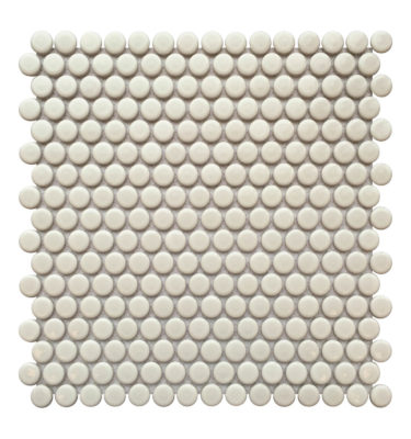 penny white mosaic backsplash