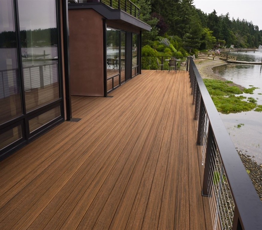 Timbertech tropical antigua gold grooved 16 39 schillings for Capped composite decking prices