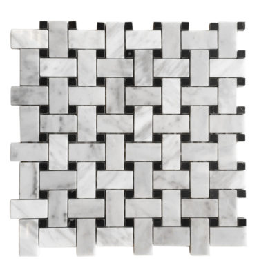 INTERLOCKING BRICK MOSAIC BACKSPLASH SHEET
