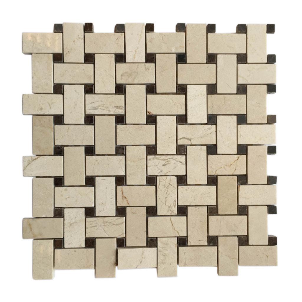 interlocking brick mosaic backsplash