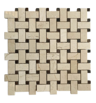 interlocking brick mosaic backsplash