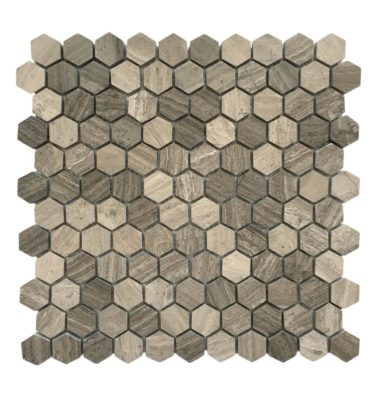 "1"" HEXAGON Wooden grey mosaic backsplash"