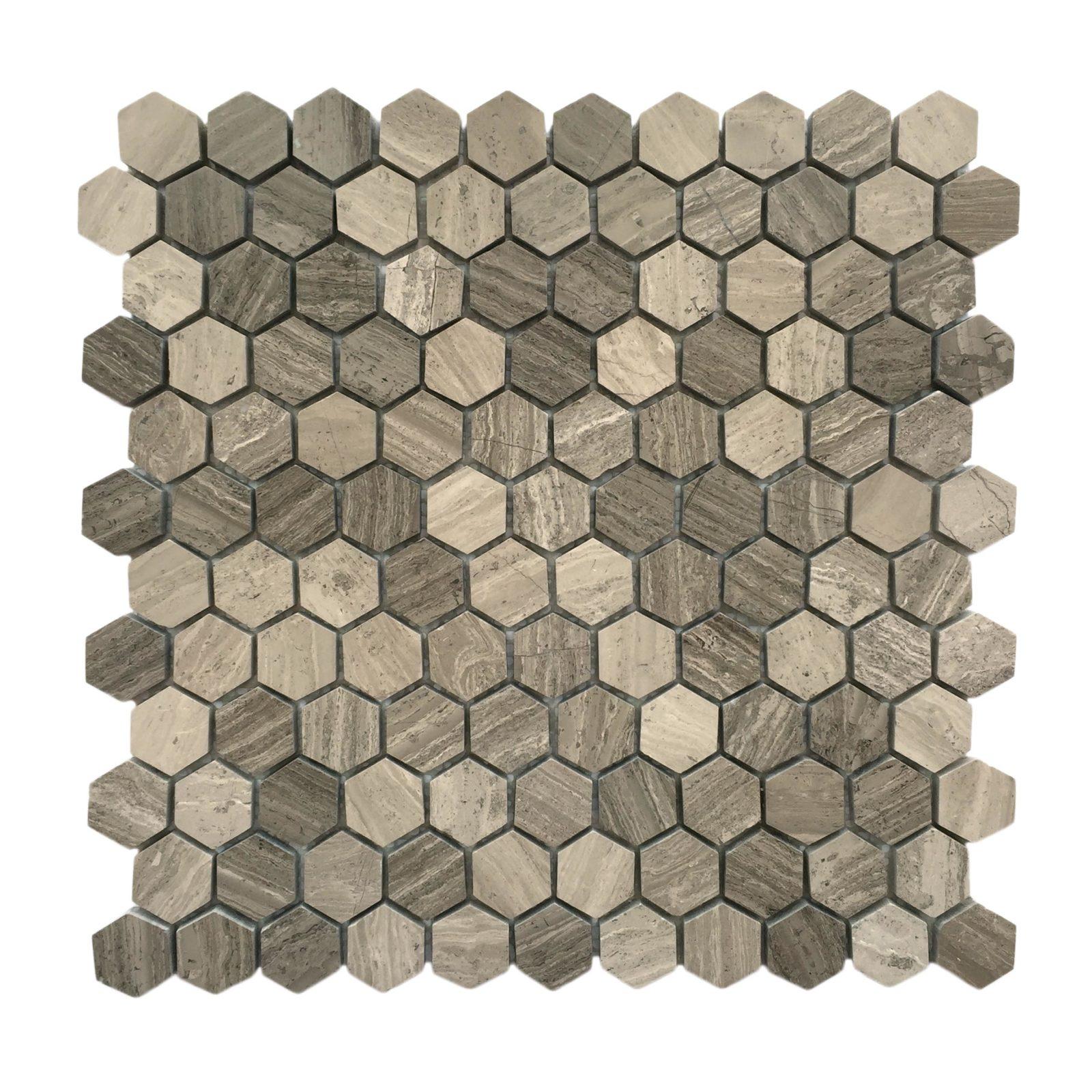 "1"" HEXAGON Wooden grey mosaic backsplash"
