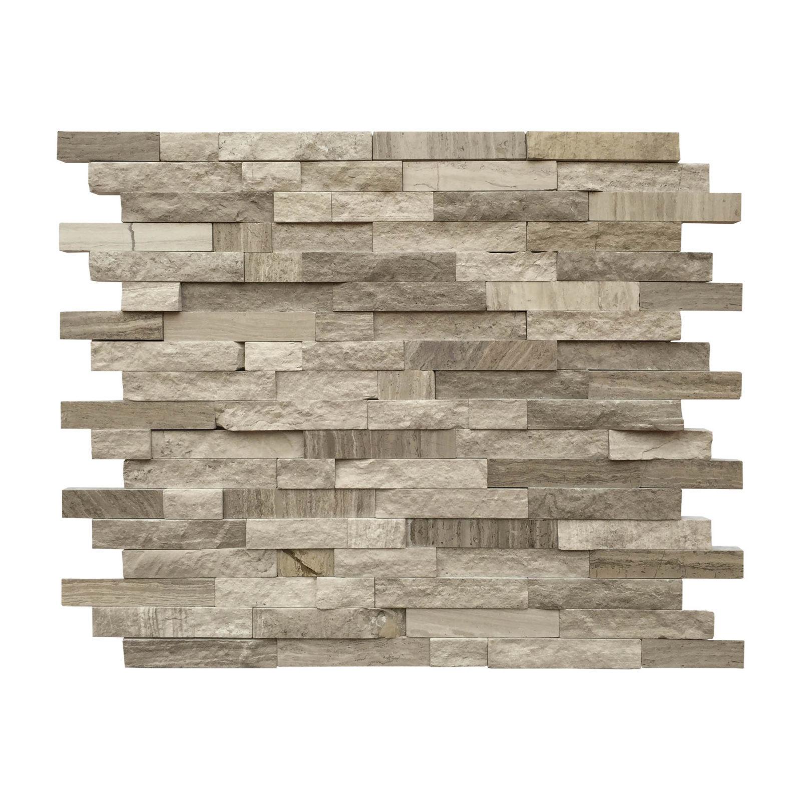 wooden grey random strip mosaic backsplash sheet