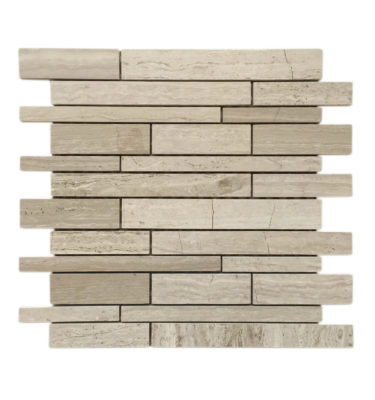 interlocking random brick mosaic backsplash