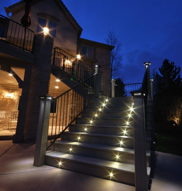 lighting indoor outdoor led recessed black stair light kit 4 led