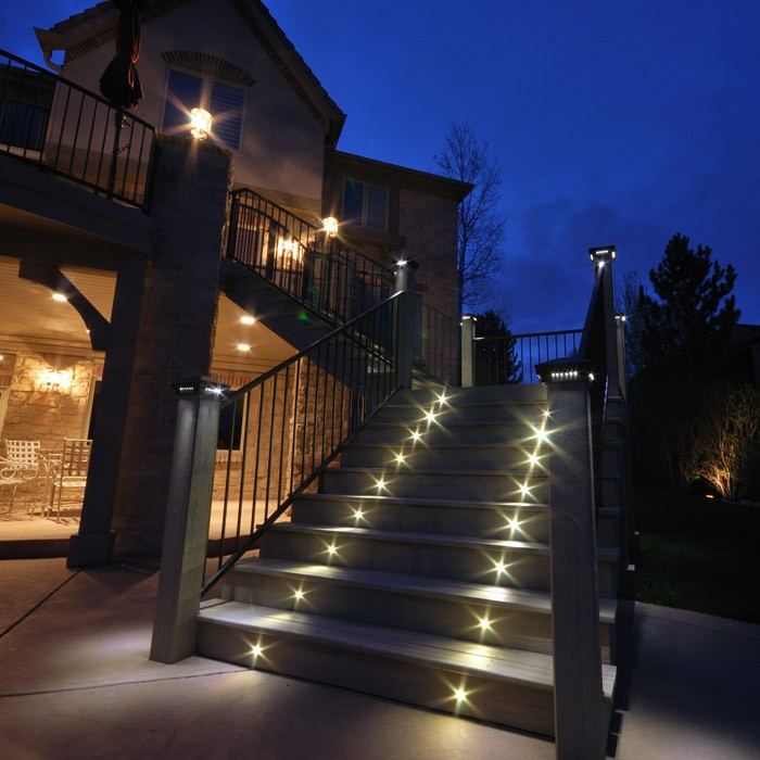 Indoor outdoor led recessed black stair light kit 4 led for Exterior led lights