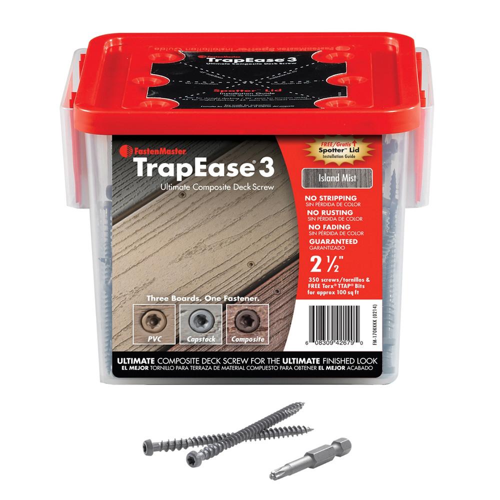 "2-1/2"" TrapEase 3 Composite Deck Screw 350 Count - Island Mist"