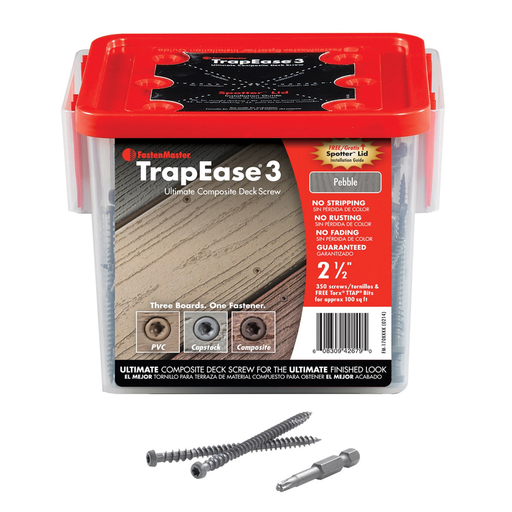 "2-1/2"" TrapEase 3 Composite Deck Screw 350 Count - Pebble Grey"