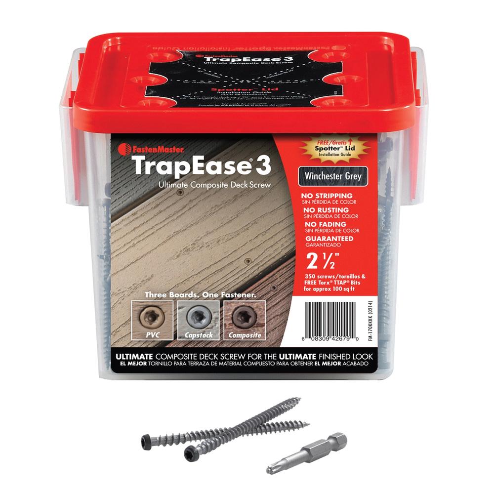 "2-1/2"" TrapEase 3 Composite Deck Screw 350 Count - Winchester Grey"