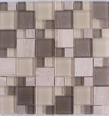 AL1740 glass tile and stone mosaic backsplash