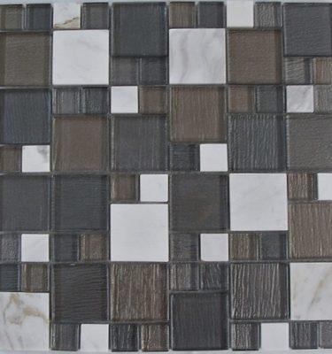 AL1760 glass tile and stone mosaic backsplash