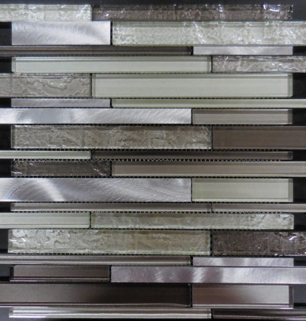 Glass tile and stone AL3600 glass and metal mosaic sheet