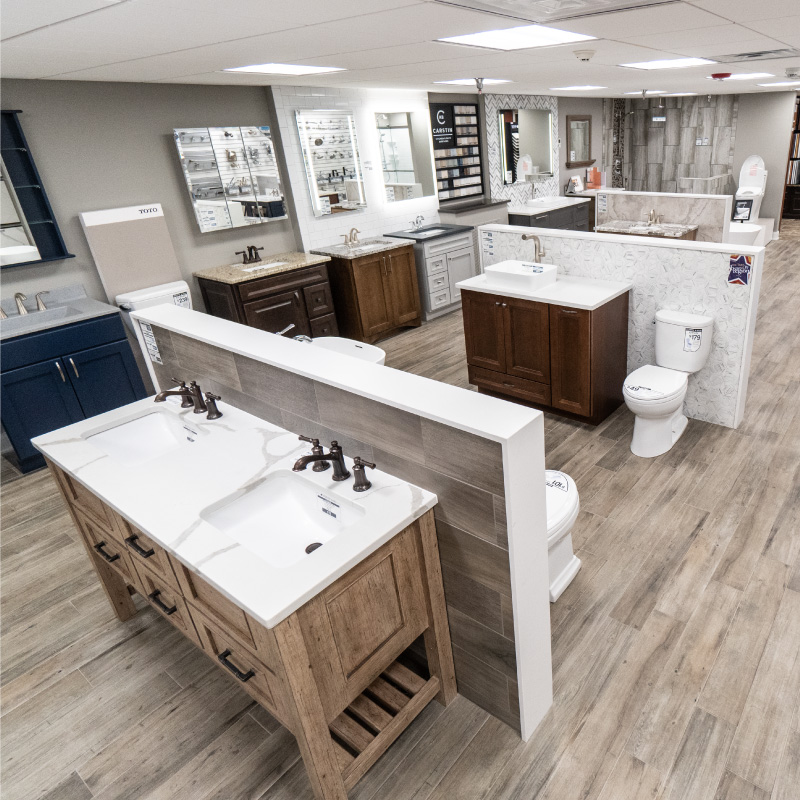 Image of the bath showroom at Schillings Home Improvemnet center.
