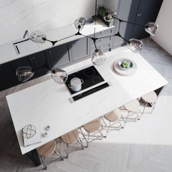 Open Kitchen with Calacatta Arno Quartz Island