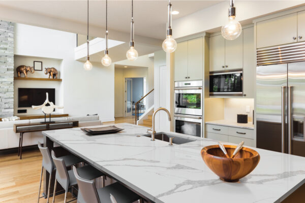 Modernized Kitchen with Calacatta Leon Quartz Countertops