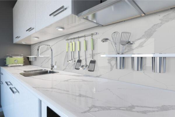 Sink Area with Calacatta Leon Quartz Countertops