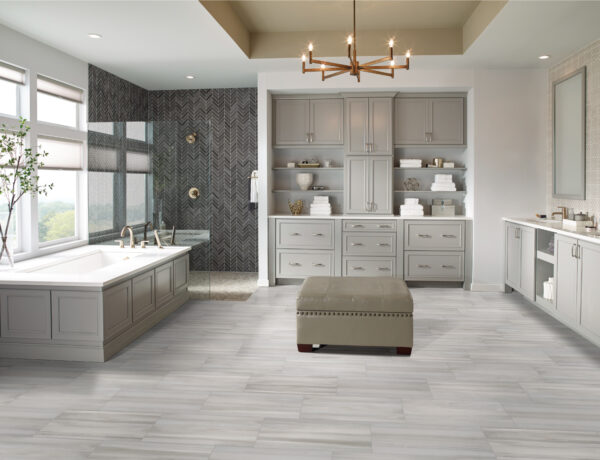 Bathroom with Carrara Marmi Quartz Countertops
