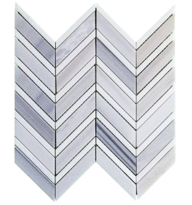 polished thassos chevron mosaic