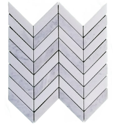 honed carrara chevron mosaic