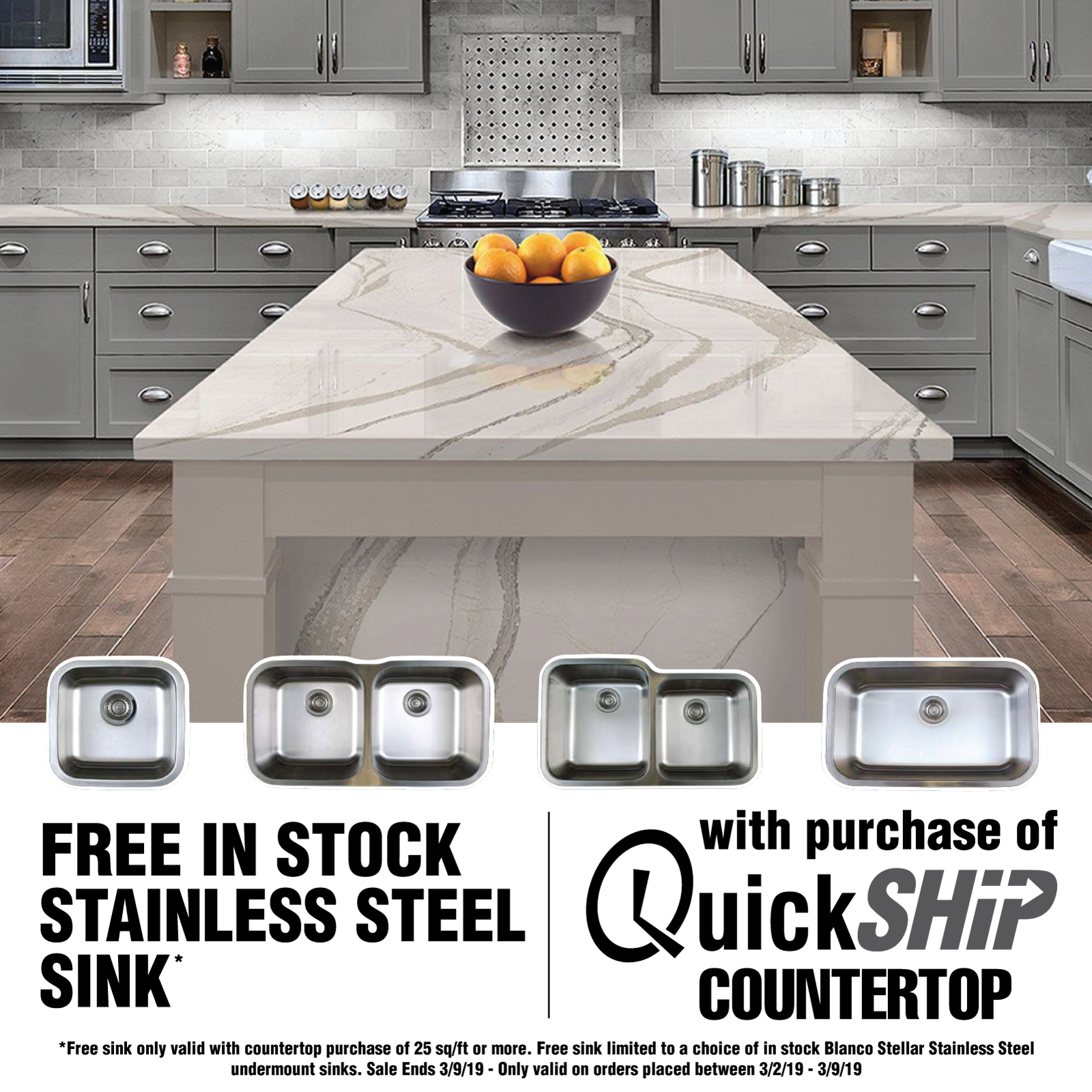 Kitchen Faucets Canada Shipping Cambria Quartz: Free Stainless Steel Sink With Quick Ship Countertop