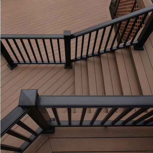 Image of deck railing, accessories, and deck lighting
