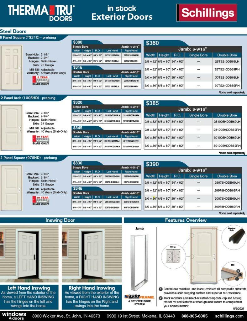 In-Stock Exterior Door Product Sheet