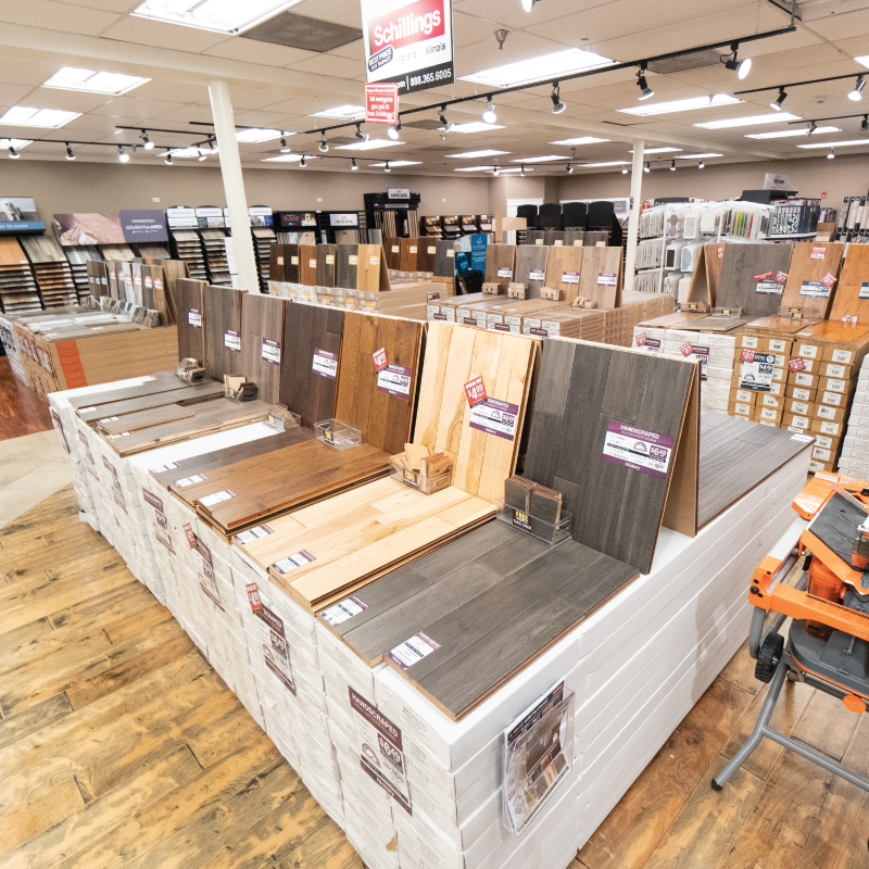 The flooring showroom at Schillings Home Improvement Center