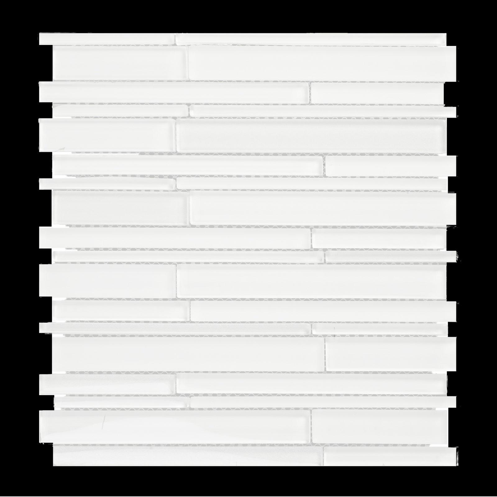 GLAK500 12X12 MULTI WIDTH GLASS RANDOM STRIP MOSAIC TILE WHITE