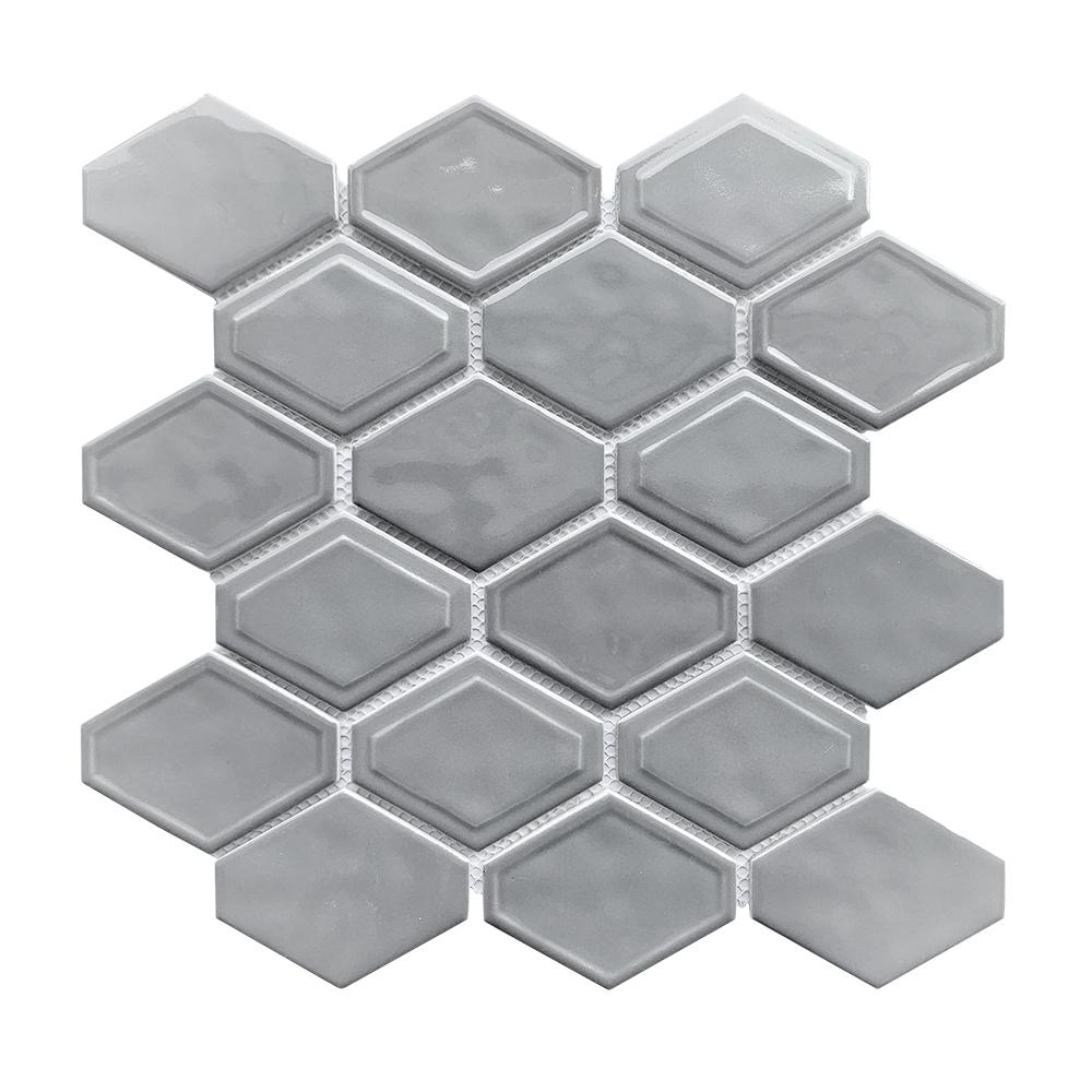 Cool Grey Elongate Hexagon Glass Mosaic