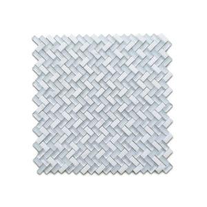herringbone carrara white tile