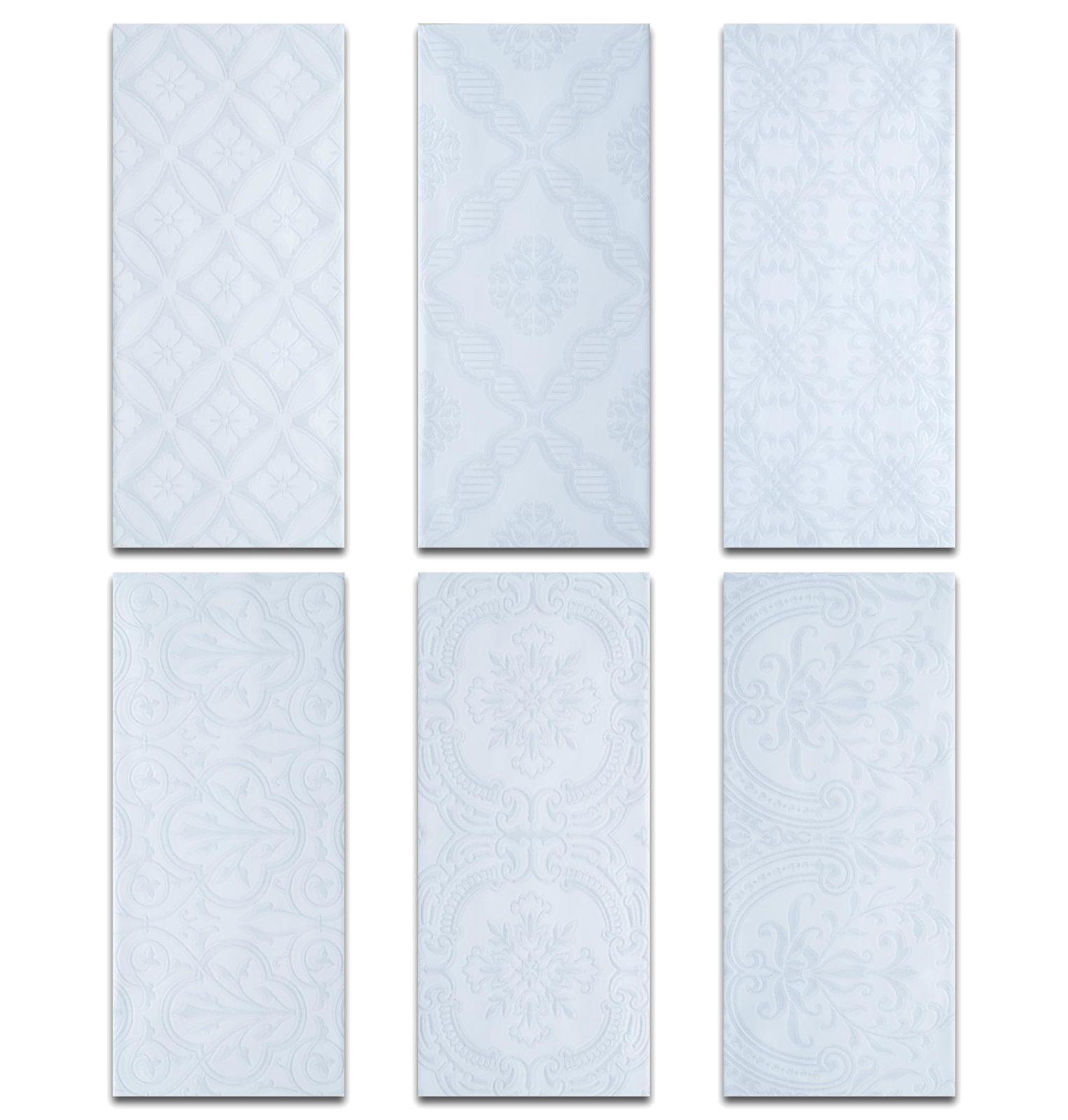 Roca Maiolica Decorative White Ceramic Tile 4 X