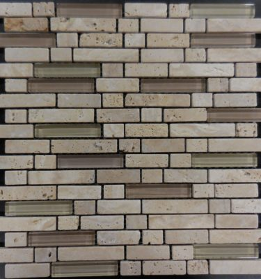 MS115 Glass tile and stone mosaic backsplash