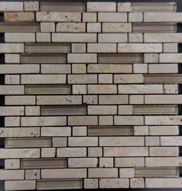MS115 Glass tile and stone mosaic backsplash