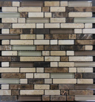 MS215 glass tile and stone mosaic backsplash