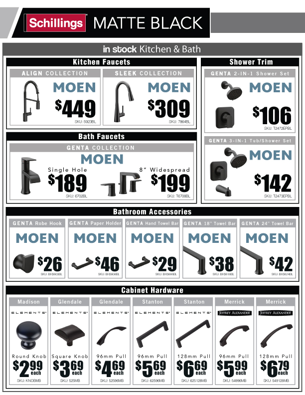 MOEN ELEMENTS SCHLAGE HAGER HINGEFEATURING PRODUCTS FROM