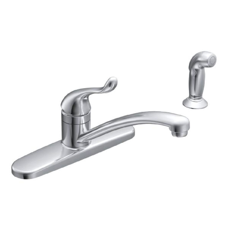 Moen CA87530 Adler One-Handle Low Arc Kitchen Sink Faucet w/Spray, Chrome  Finish