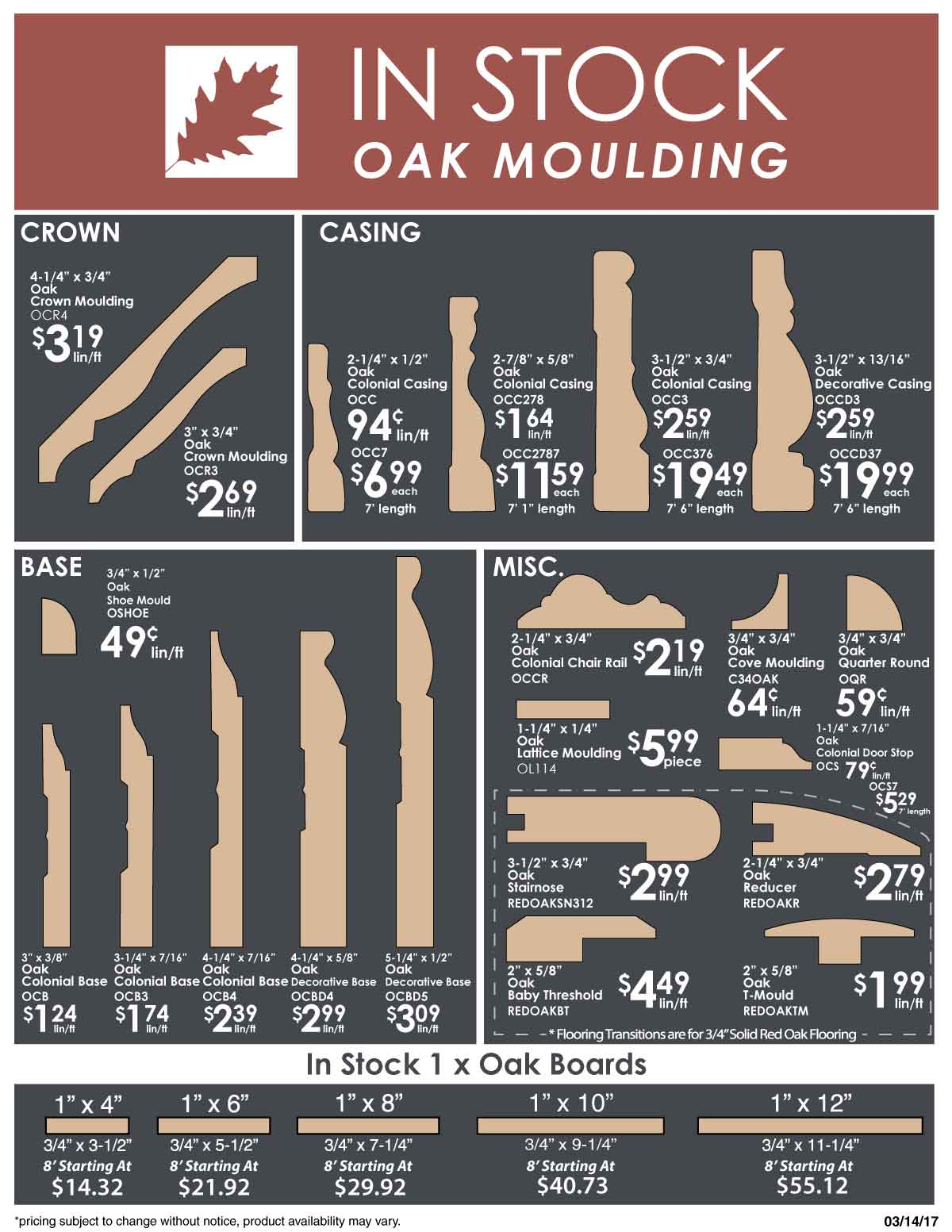 in stock oak moulding